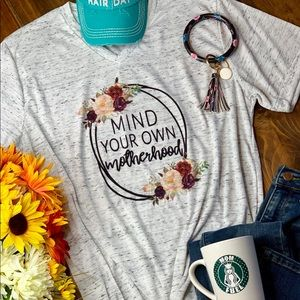 Mind Your Own Motherhood Gray Graphic Tee Shirt